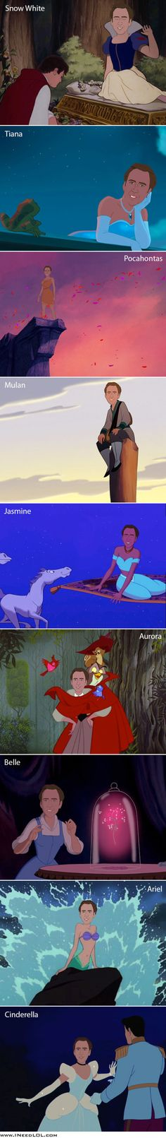 Nicolas Cage as various Disney princesses. Idk why I find this so hilarious. Lol