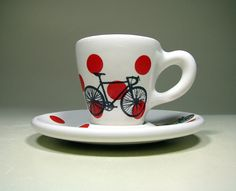 Tour de France. Espresso cup w/saucer (polkadot jersey) Made to Order.  Please follow us @ http://www.pinterest.com/wocycling