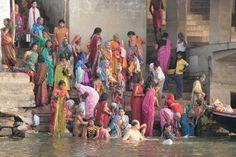 Bath in the Ganges River Teaching Social Studies, India Beauty, Beauty Women, Buddha, Textiles, Bath, River, Dance, Places