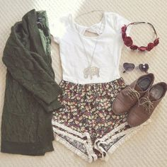 Teenage Fashion Blog: Floral & Olive Knit Sweater # Fall Teenage Outfit ...
