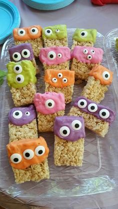 Monster Rice Krispies Treats. A little melting chocolate in different colors and some edible candy eyes
