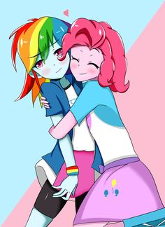 #1146993 - artist:batao, equestria girls, hug, lesbian, pinkiedash, pinkie pie, rainbow dash, safe, shipping - Derpibooru - My Little Pony: Friendship is Magic Imageboard