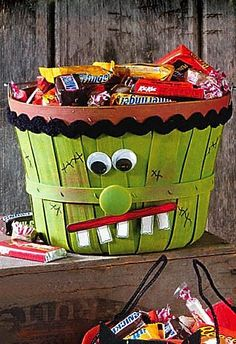 Frankenstein Basket ~ paint basket, add large goggly eyes, wooden knob nose, paper mouth & teeth, large ric rac trim