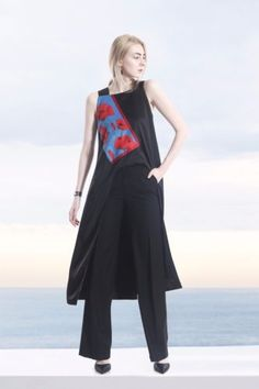 COLE-COOL-Black-Satin-Tank-Top-with-Flower-Printed-Satin-and-Swarovski-Crystals