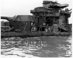 16 in Colorado class battleship USS West Virginia still awaiting salvage in March 1942 after the Pearl Harbor attack over 3 months before. Naval History, Military History, Pearl Harbour Attack, Uss Oklahoma, Remember Pearl Harbor, Pearl Harbor Day, Us Battleships, Uss Arizona, History Images