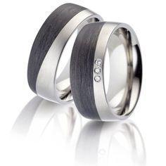 Titan Partnerringe Eheringe poliert mit schwarzer Karboneinlage mit Diamant TitanFactory 52474