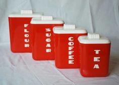 Love the font on these red plastic canisters Red Canisters, Vintage Canisters, Plastic Canisters, Vintage Kitchenware, Kitchen Canisters, Canister Sets, Red And White Kitchen, Red Kitchen, Kitchen Retro