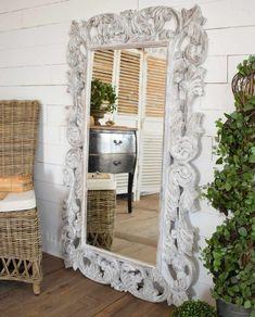Specchiera intarsiata white antique H 150 cm - Mobilia Store Home & Favours Decor, Furniture, Oversized Mirror, Home Decor, White, Mirror