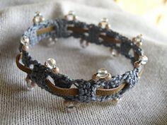 Beaded Bracelet with Leather Weave - free pattern from Crochetology.net