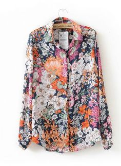 Floral Print Long Sleeve Shirt - Sheinside.com Cheat