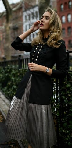 Military-inspired details! // Pleated metallic midi skirt, military-inspired jacket with a black embossed waist belt, black shoulder bag, and black pumps {Tommy Hilfiger, Steve Madden, holiday style, classic style, workwear, what to wear, winter outfits, fashion blogger}