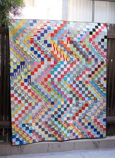 scrappy trip along quilt finished by ericajackman, via Flickr