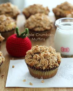 Apple Crumble Muffins Recipe baked from an old recipe book with slight modification to turn a cake to muffins, just like your grandma's Apple Crumble Cake. Muffin Recipes, Apple Recipes, Cupcake Recipes, Baking Recipes, Sweet Recipes, Holiday Recipes, Cookie Recipes, Cupcake Cakes, Dessert Recipes