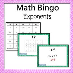 Exponents Bingo  (Exponents of one, two, or three) Students are  motivated to complete the problems. Every answer is on their board which  allows students to self check and try again if needed.  Digital: Online version which can be accessed on any device with internet access, including Chromebooks.***You must print out the bingo boards.  Pick one way to show the questions*** Simone's Math Resources