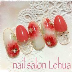 Asian Nails, Flower Nails, Nail Art Designs, Salons, Pearl Earrings, Art Floral, Beautiful, Nailart, Art Ideas
