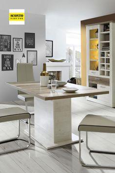Moderní rozkládací jídelní stůl, který vyniká zajímavým barveným dekorem. Kontrastní kombinace světlého a tmavého dřeva podtrhuje jeho elegantní vzhled. Stůl je vyrobený z kvalitního lamina v dekoru pinie a dubu. Lze jej rozložit na šířku 200 cm. Table, Furniture, Home Decor, Pine Tree, Decoration Home, Room Decor, Tables, Home Furnishings, Home Interior Design