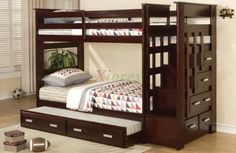 Dark Brown Polished Wooden Bunk Bed With Stair And Trundle Also Wooden Drawers Having Steel Handle On Laminate Flooring