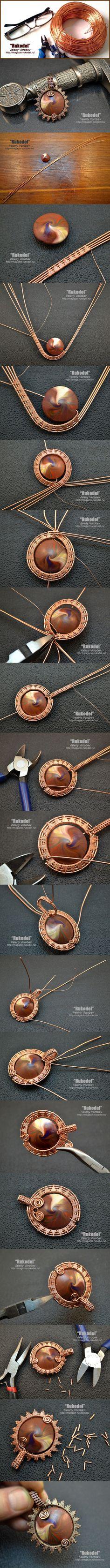 Wire wrapping a polymer swirled bead: Поделки, украшения из проволоки своими руками. | Рукодел