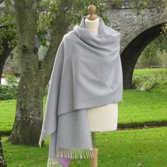 Color: Smoke Blue Herringbone with Cream rolled fringe.This shawl is made from 100% soft Lambswool.Made in Ireland