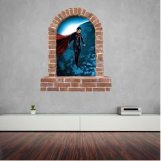 Superman brick window wall sticker and decals. Wall Stickers, Decals, Window Wall, Superman, Brick, Flat Screen, Windows, Wall Clings, Blood Plasma