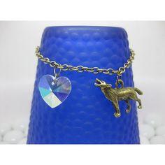 SALE Twilight Bella wolf heart bracelet/twilight inspired jewelry/wolf... ($5.77) ❤ liked on Polyvore