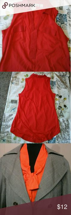 Modcloth red tie beauty Comme Toi like new Easy care nice flowing blouse ,Blouse sz 1X Bust 24.5, L 24 sold on modcloth and selected colors were sold through Anthropologie this blouse was never worn comme toi Tops Blouses