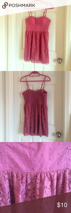 Pink sundress Too half is fabric, under bust is a lacy floral pattern with pink silk underlay. Great condition American Eagle Outfitters Dresses Mini