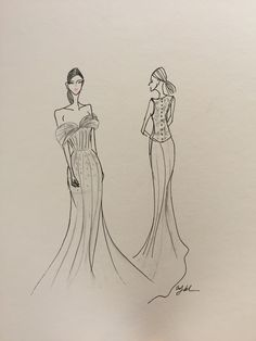 Oscar de la Renta duo. Bridal illustration by The Cartorialist.