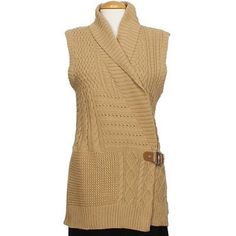 NWT Ralph Lauren sweater vest This is a gorgeous camel color I got it as a gift but it does not fit - interior ties to keep vest in place and the leather buckle on outside - anyone who gets this will LOVE it Ralph Lauren Sweaters Cardigans