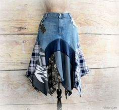 Plus Size Jean Skirt Hippie Women Clothes Patchwork Plaid Boho