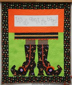 """""""It's All About the Boots"""" quilt design by Ronene Wilkinson at Oh My Bloomin Threads, seen at Corn Wagon Quilt Co."""