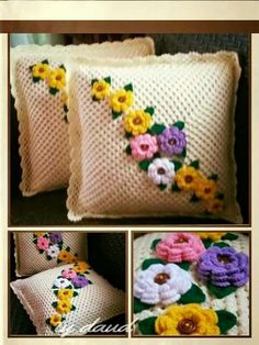 How to Crochet a Solid Granny Square - Crochet IdeasThis Pin was discovered by Hwi Crochet Pillow Cases, Crochet Cushion Cover, Crochet Pillow Pattern, Crochet Cushions, Crochet Motif, Crochet Designs, Crochet Doilies, Crochet Patterns, Pillow Crafts
