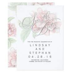 #Soft Pink Flower Typography Elegant Save the Date Card - save the date #savethedate #weddinginvitations #wedding #invitations #party #card #cards #invitation #save