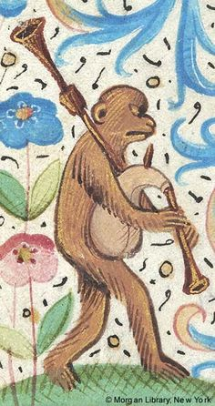 Monkey playing bagpipe | Book of Hours | France, Paris | 1480-1500 | The Morgan Library & Museum
