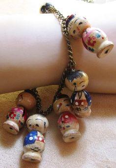 Vintage Kokeshi Wood Painted Doll Charm Bracelet