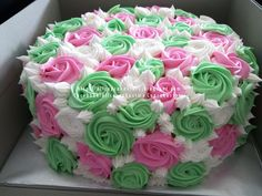 Pink and green rose cake