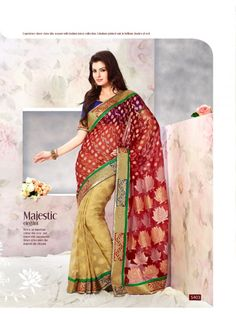 Touch Trends Maroon Embroidered Saree