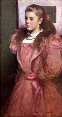 John White Alexander (1856–1915), Young Girl in Rose, a Portrait of Eleonora Randolph Sears (1895)