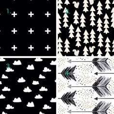 Made to order Fitted Cot / Crib sheet Black and White Cross, Woodland,Clouds,Arrows on Etsy, $64.36