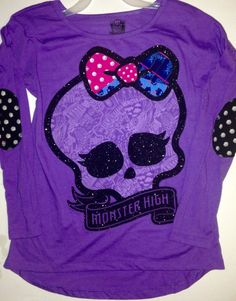 Monster High Girls Size 10 12 Shirt New Clothing Long Sleeve Purple Top | eBay
