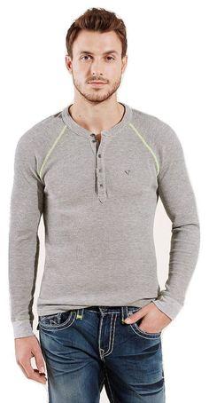 True Religion Men's Long Sleeve Heathered Raglan Henley Sweat Shirt Size XXL NWT #TrueReligion #Henley