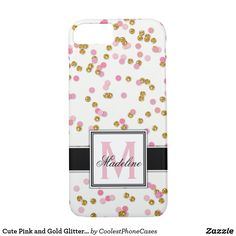 Cute Pink and Gold Glitter Confetti Monogrammed iPhone Case - girly gifts girls gift ideas unique special Glitter Confetti, Gold Glitter, Glitter Gifts, Girly Gifts, Cute Gifts, Iphone 8 Cases, Phone Case, Mobile Cases, Monogram Gifts