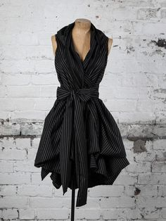 Black Pinstripe Trench Dress