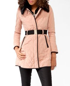 Quilted Contrast Trimmed Coat
