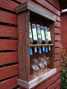 Barn wood wine cabinet. via Etsy.