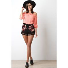 Floral Caged Hem Shorts ($30) ❤ liked on Polyvore featuring shorts, floral shorts, floral print shorts, floral printed shorts and flower print shorts
