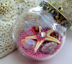 Wishing bottle Glass Ball Pendant Starfish seashore door elsyrene, $14.98