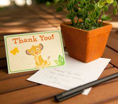 Lion King Baby Shower Thank You Notes. Send your guests a nature-filled thanks with these printable Simba-stamped thank you notes.