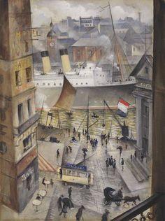 A Boulogne Window - Christopher Richard Wynne Nevinson British Pencil, chalk, pastel, watercolour and bodycolour , x in. x cm. Munier, English Artists, British Artists, Museum, Modern Artists, Fantastic Art, Urban Landscape, Figure Painting, Urban Art