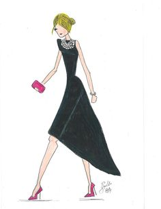 Fashion Illustration by Melsy's illustration. On sale now on Etsy! Search: Melsy's follow @ladeeinpink on instagram